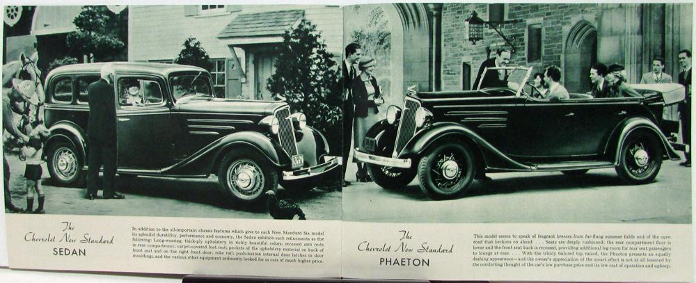 1935 Chevrolet Standard Six Roadster Phaeton Coach Coupe Sedan Sales