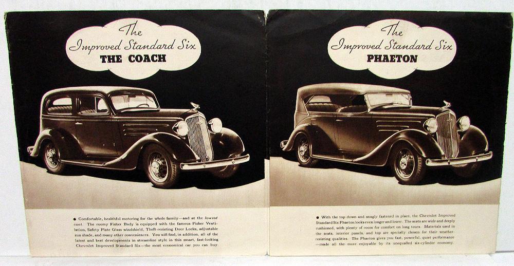 1935 Chevrolet Standard Six Series Sales Folder Original Coach Coupe