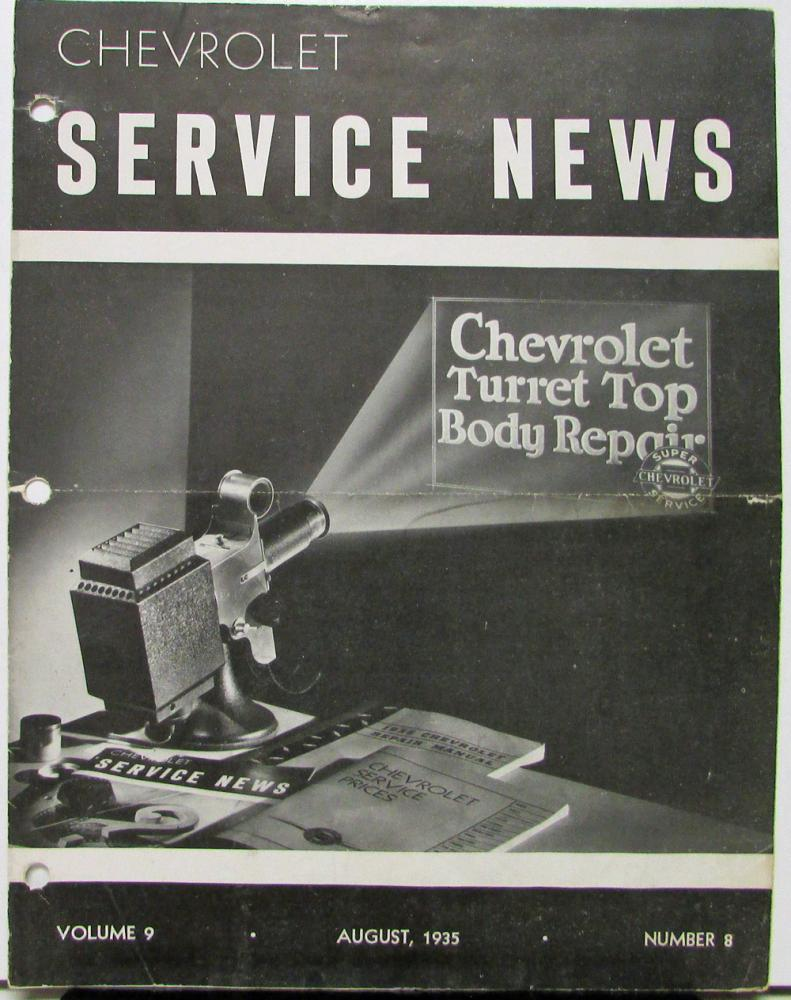 1935 Chevrolet Aug Service News Turret Top Repair & Master Deluxe Lubrication