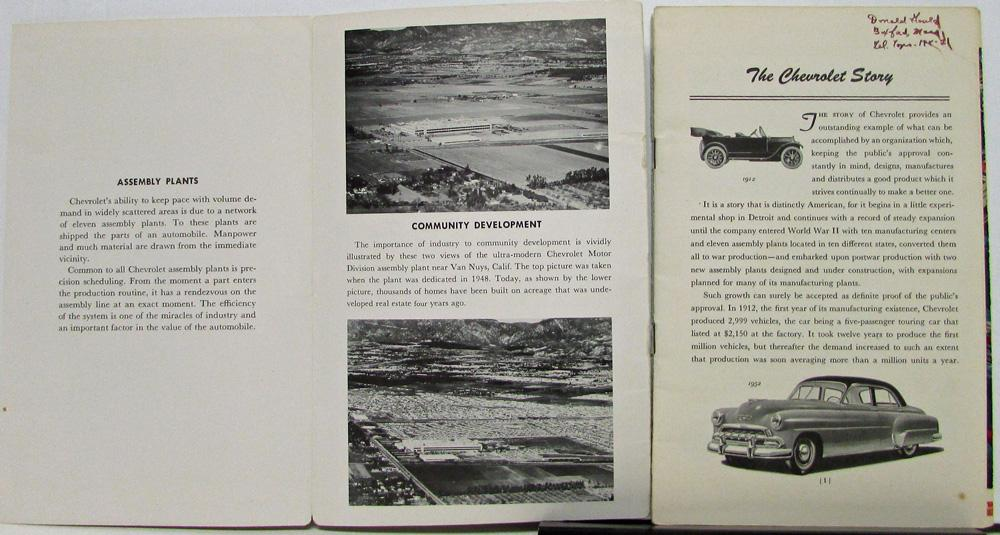 Chevrolet Story From 1912 To 1952 Promotional Sales Brochure Original
