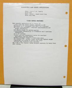 1961 REO Truck Model C 436 Brief Specifications Mixer