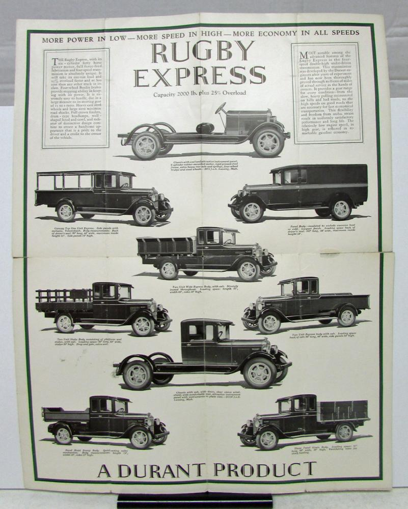 1929 Rugby Truck Express And Fast Mail Sales Folder And
