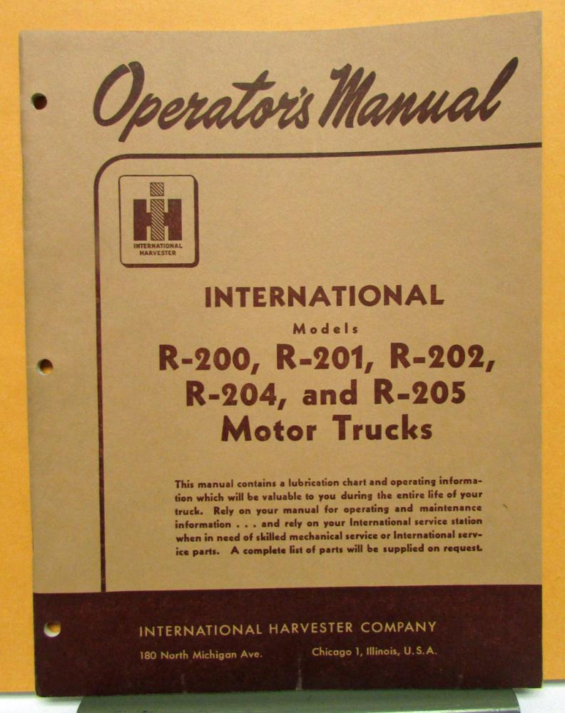 1953 1954 International Harvester Models R 200 201 202 204 205 Farmall Wiring Diagram Operators Manual