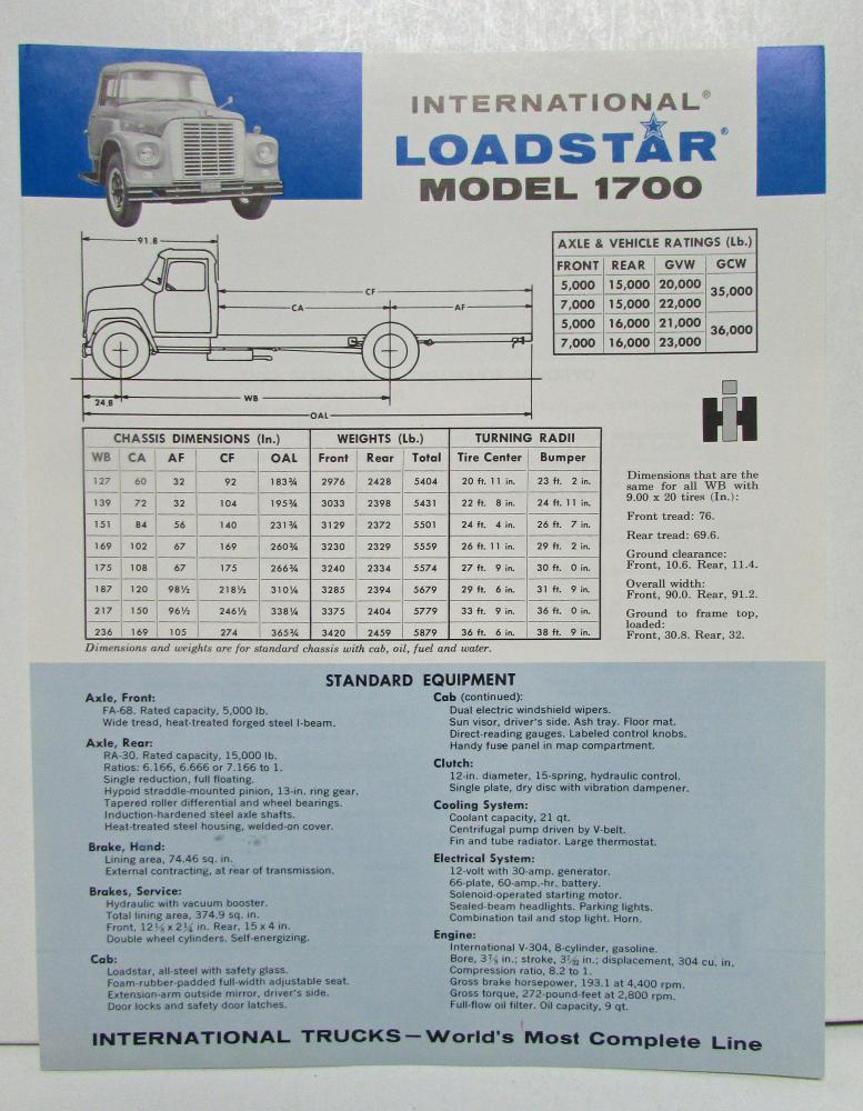 1962 International Harvester Truck Loadstar Model 1700 Specification