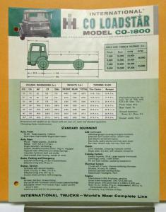 1963 International Harvester Loadstar Truck Model CO 1800 Specification Sheet