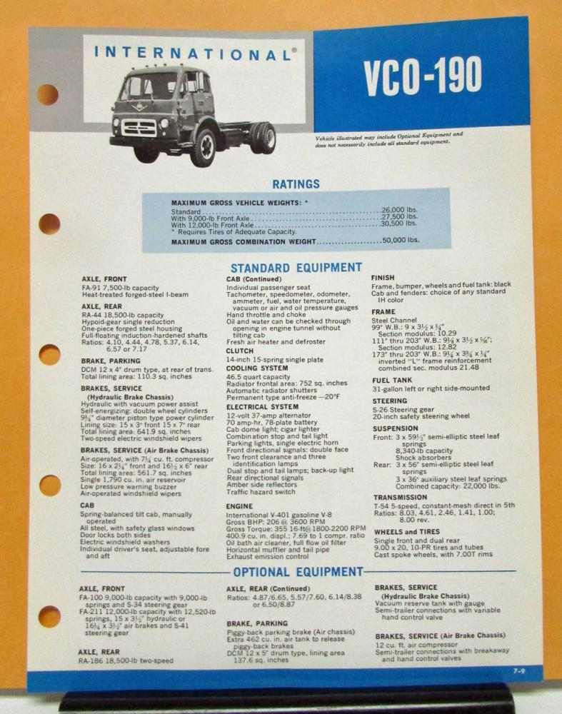 1969 1970 International Harvester Truck Model VCO 190 Specification Sheet