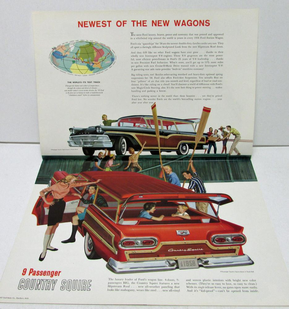1958 Ford Station Wagons Country Squire Del Rio Ranch Sale Brochure 1954 Wagon Rev 10 57 Xl