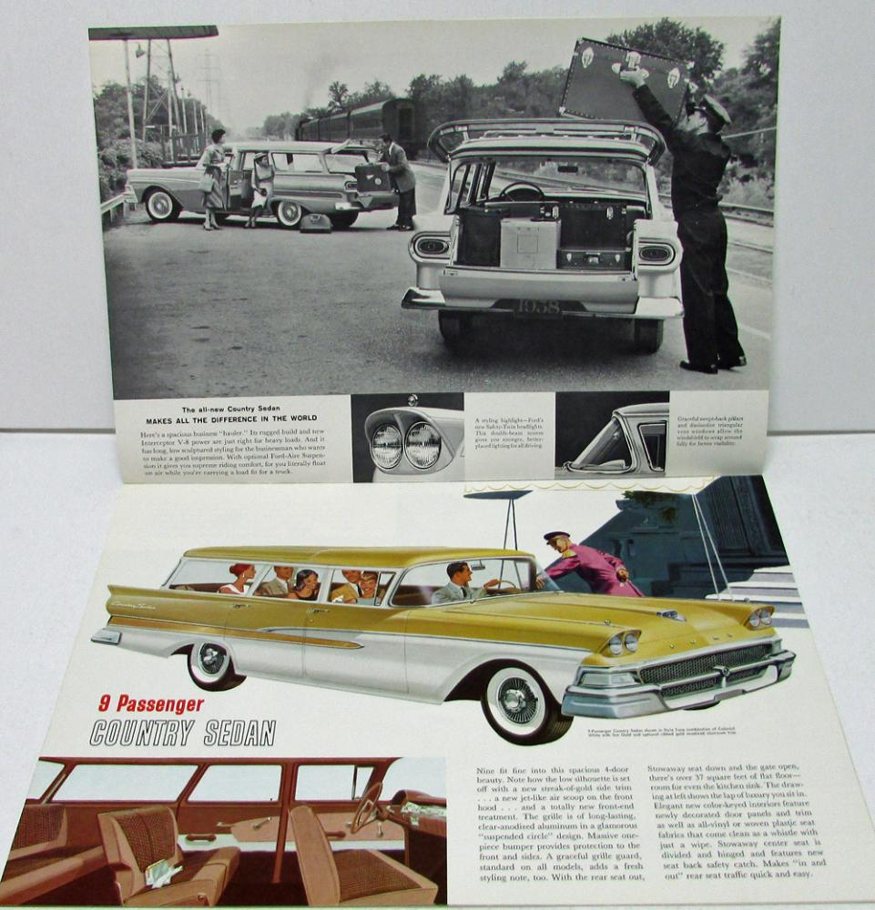 1958 Ford Station Wagons Country Squire Del Rio Ranch Sale Brochure
