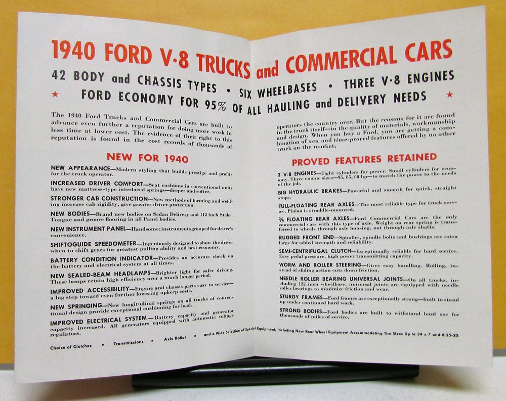 1940 Ford Truck Model V8 & Commercial Cars Sales Brochure