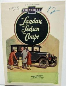 1926 Chevrolet Canadian Sales Brochure Folder Landau Sedan Coupe
