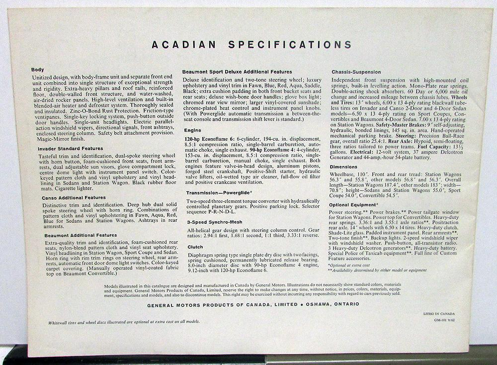 1963 Acadian Beaumont Canso Invader Canadian Sales Brochure GM Of Canada