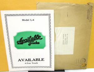 1925 Available Trucks L4 4 Ton Dealer Sales Brochure Folder W/Envelope