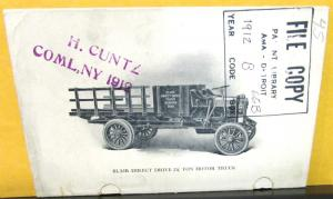 1912 Blair Direct Drive Truck Pocket Sales Brochure Newark Ohio