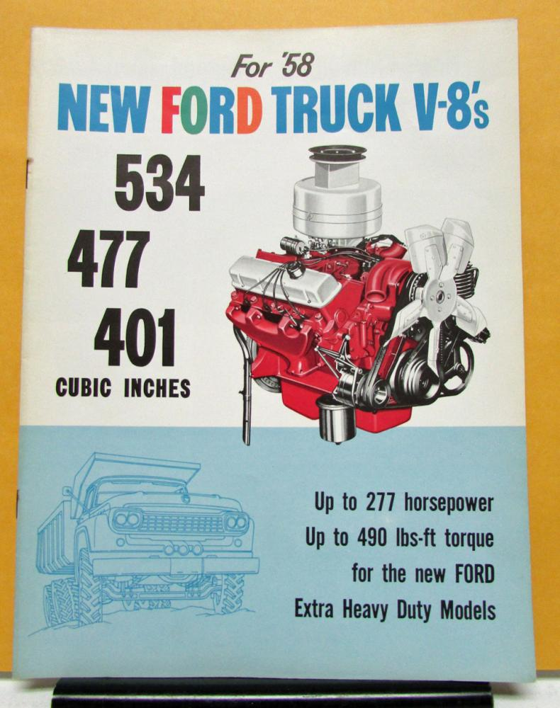 1958 Ford Truck V8 Engines Models 534 477 401 Sales Brochure