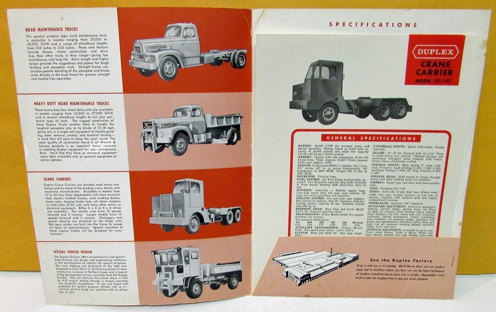 1955 Duplex Trucks Dealer Sales Portfolio Crane Carrier Data