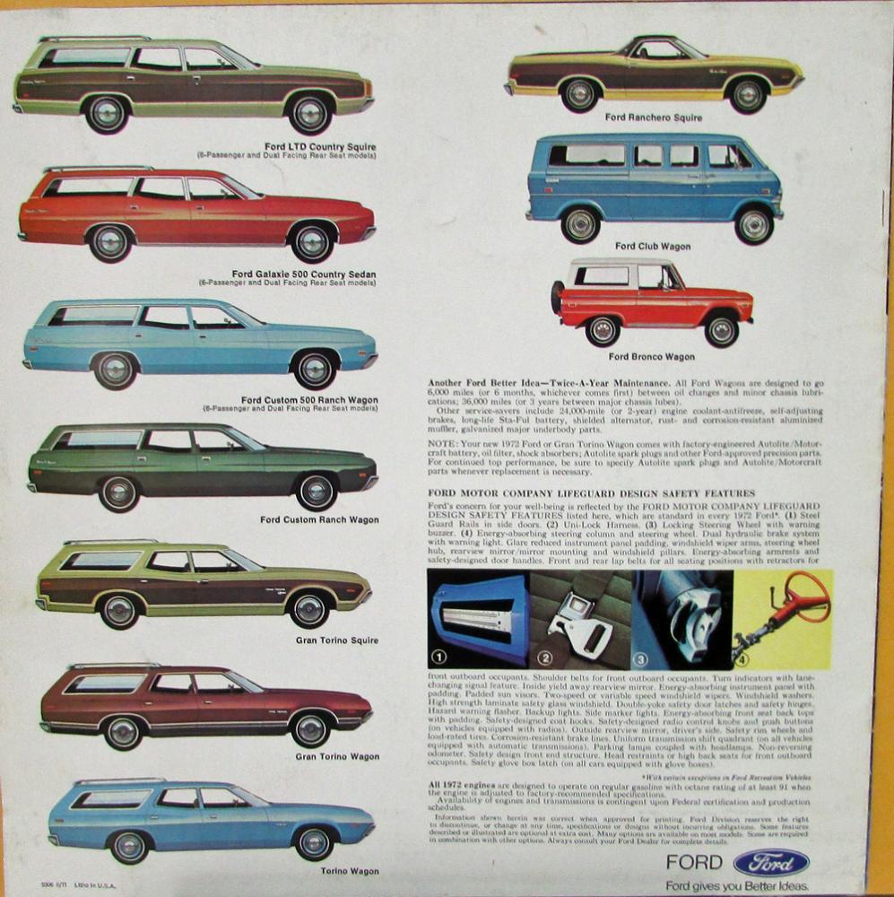 1972 Ford Wagons Gran Torino Rec Vehiclas Wagonmaster Xl Sales 1964 Grand Brochure Aug 71