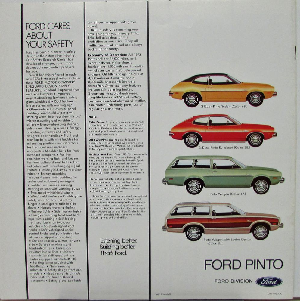 1974 Ford Pinto Lineup: 1973 Ford Pinto Sedan Runabout Wagon Squire Color Sales