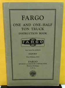 1933 Fargo 11/2 Ton Truck Owners Manual Chrysler Export Foreign Care & Op