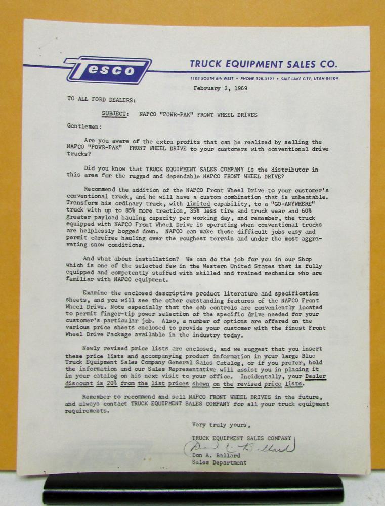 1969 Ford Truck Model F N B 500 600 6000 Napco Powr Pak Sales Letter