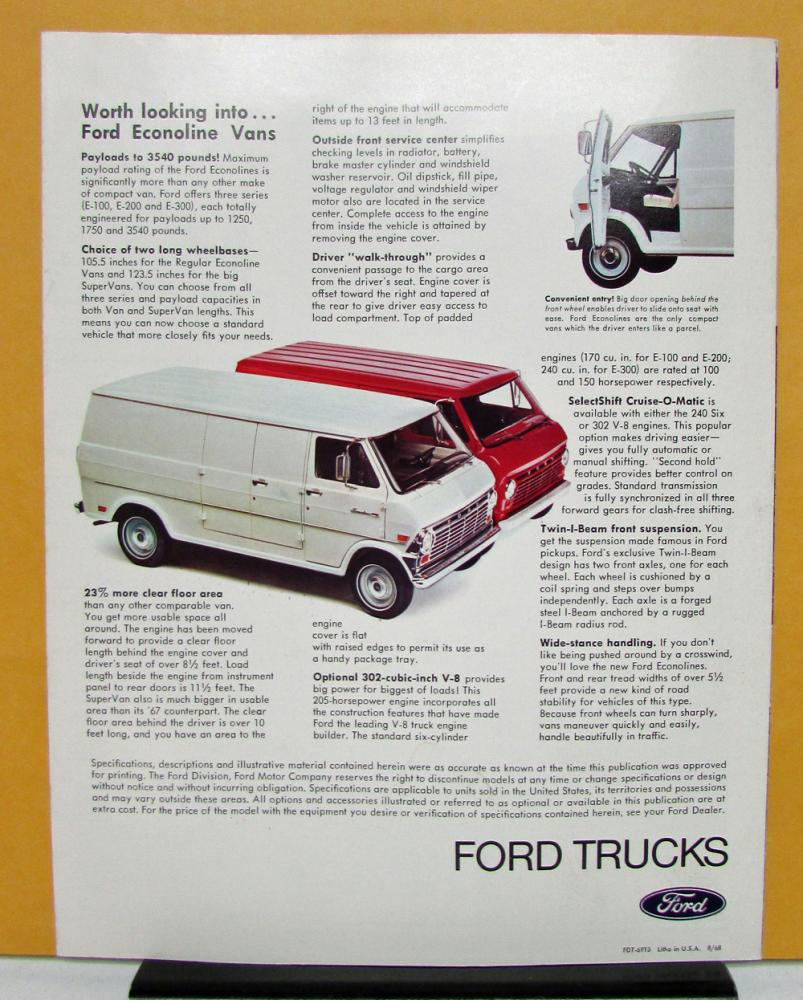 1969 Ford Truck Model P 350 3500 400 4000 500 5000 Sales Folder Econoline Van Specifications