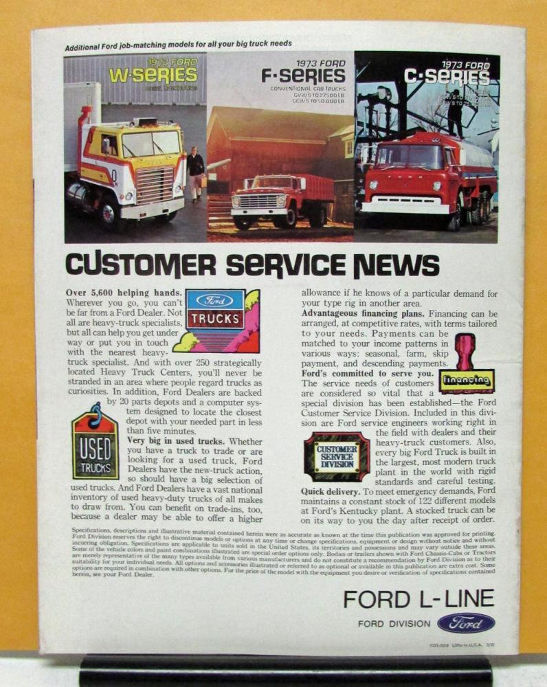 1973 Ford Truck Louisville Line LTS L LN LT LNT 500 800 Series Sales  Brochure