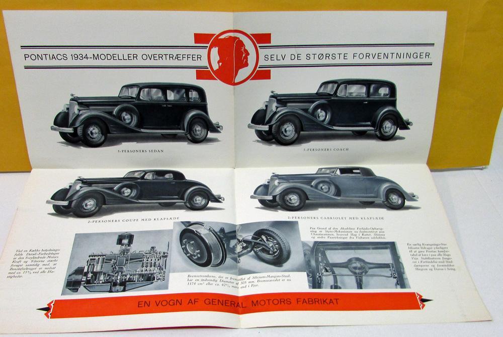 1934 Pontiac Foreign Dealer Sales Brochure Folder Danish