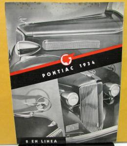 1934 Pontiac Foreign Dealer Sale Brochure Folder Spanish Text Argentinian Market