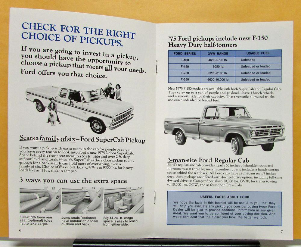 Vehicle Parts & Accessories FORD 1975 TRUCK Sales Brochure 75 Pick Up