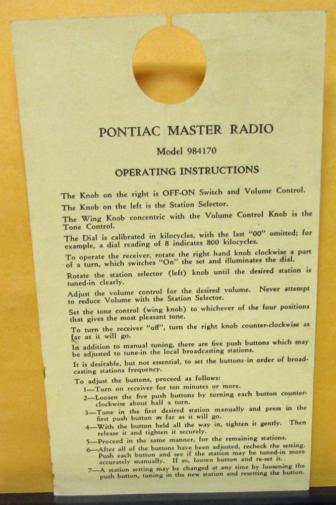 1947 Pontiac Dealer New Car Radio Operation Hang Tag Card