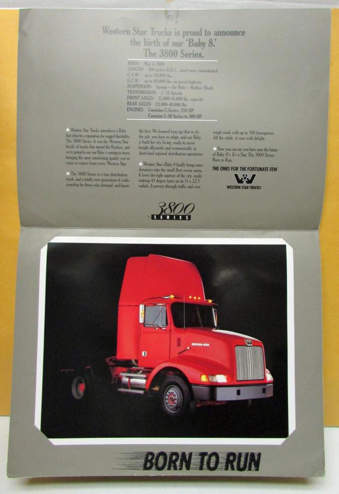 1988 Western Star Truck 3800 Series Sales Brochure With Photo Insert