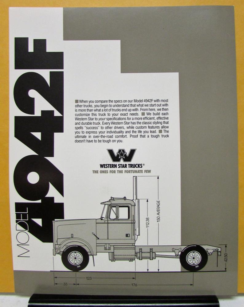 1988 Western Star Truck Model 4942F Sales Brochure And Specifications