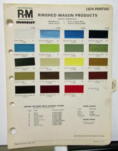 1974 Pontiac Color Paint Chips Leaflet R-M Full Line Original