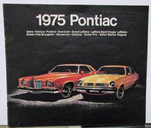 1975 Pontiac Dealer Sales Brochure Full Line Firebird LeMans Grand Prix Catalina
