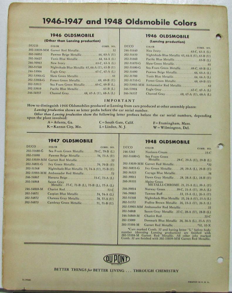 1949 Oldsmobile Dupont Color Paint Chips & Combinations Original ...