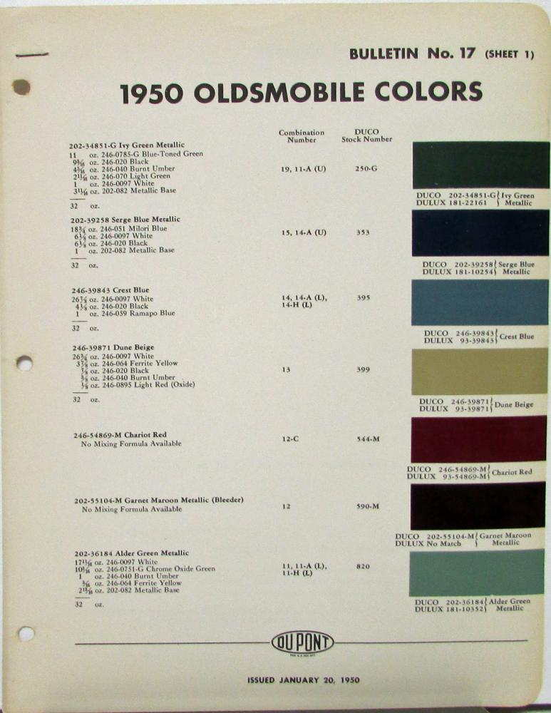 1950 Oldsmobile Dupont Color Paint Chips Combinations