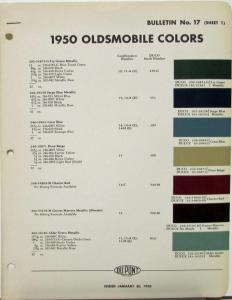 1950 Oldsmobile Dupont Color Paint Chips & Combinations ...