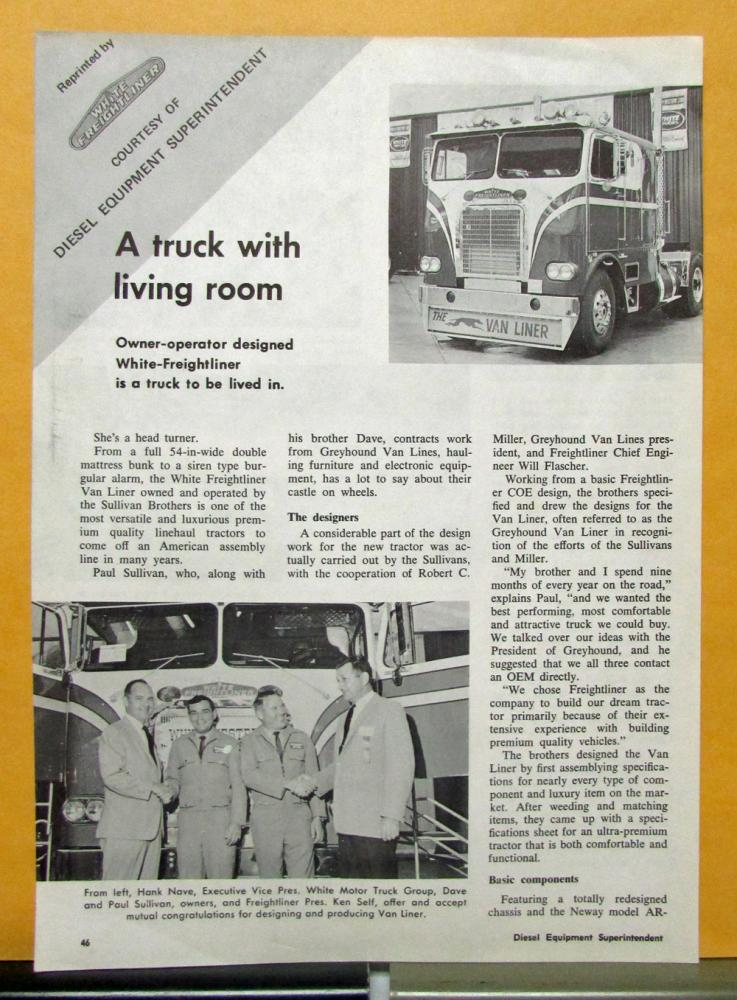 1969 White Freightliner Truck With Living Room Article By