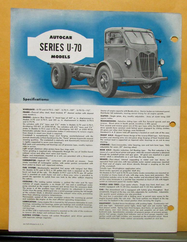 1951 Autocar Truck Series U 70 Sales Brochure And Specifications Old Trucks Wiring: Autocar Truck Wiring Diagrams At Satuska.co