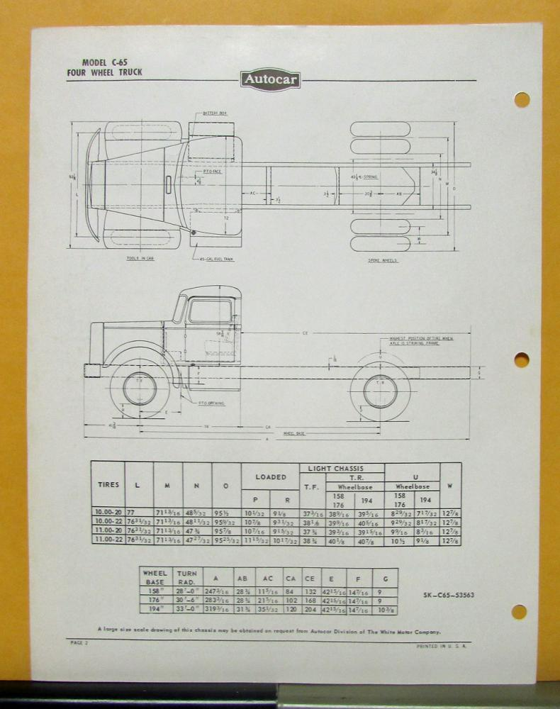 Autocar Truck Schematics Trusted Wiring Diagrams 1954 1955 Model C 65 Specification Sheet 1949