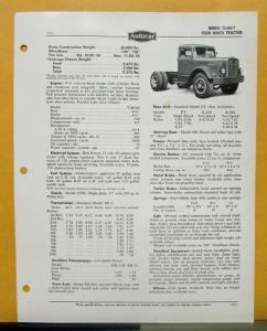 1955 Autocar Truck Model CL 65 T Specification Sheet