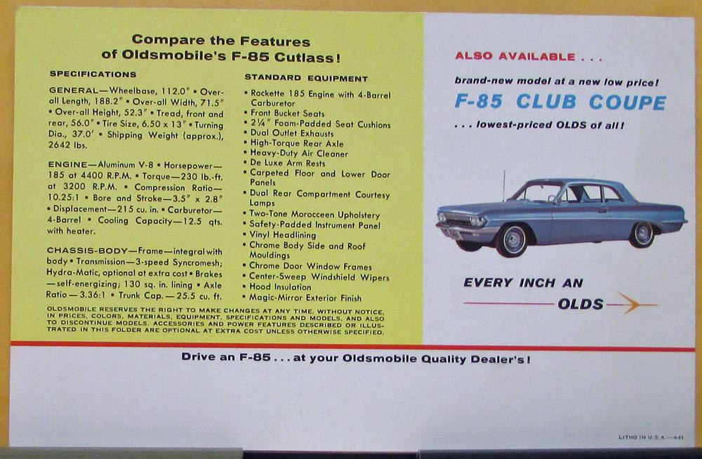 1961 Oldsmobile F85 Cutlass Color Sales Folder Original