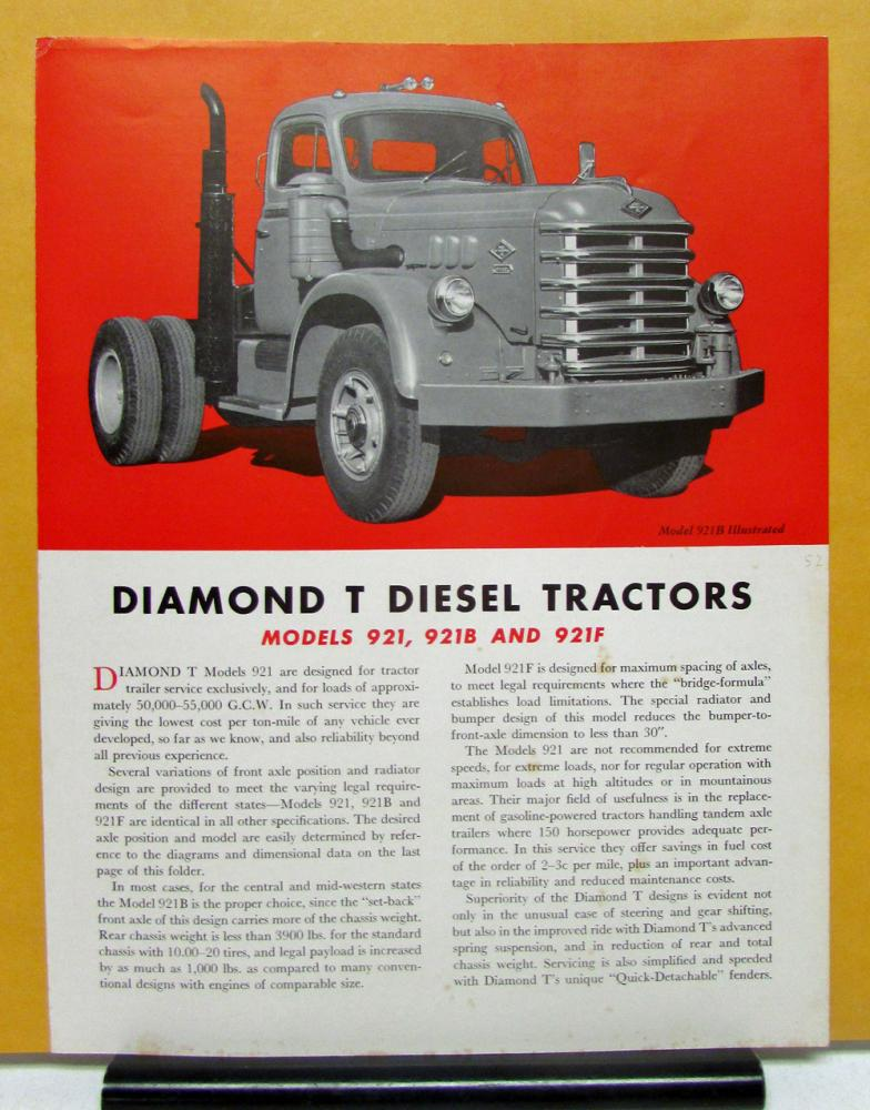 Diamond T Truck Model 921 921B 921F Sales Brochure And Specifications