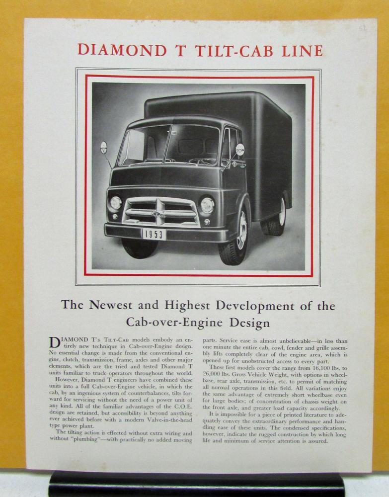 1953 Diamond T Truck Model 422C 622C Tilt Cab Sales Brochure