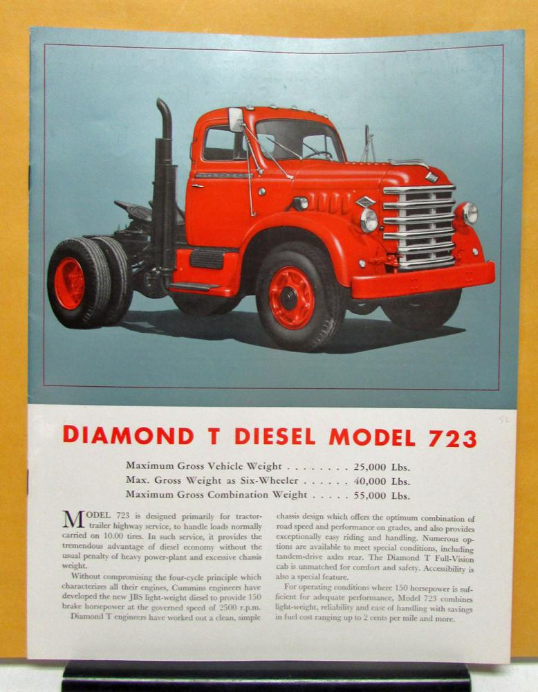 1953 Diamond T Truck Model 723 Sales Brochure and Specifications