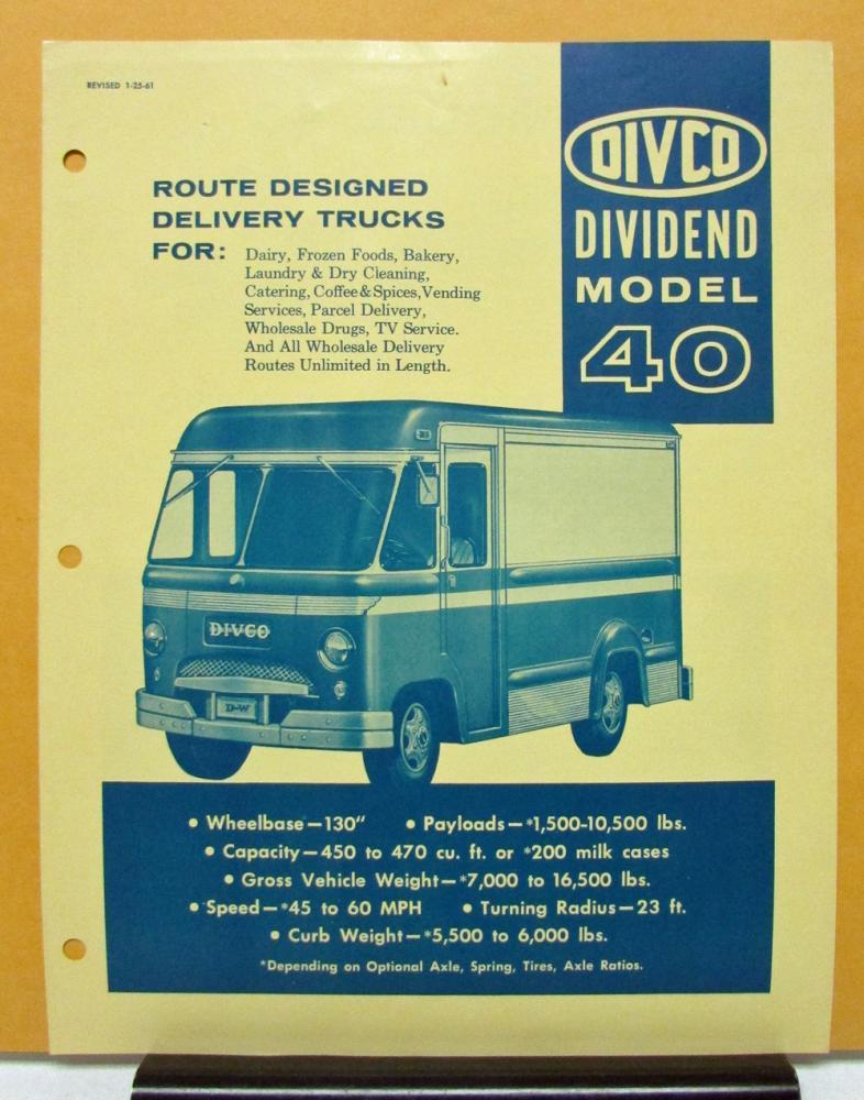 1961 DIVCO Truck Model 40 Sales Brochure & Specifications