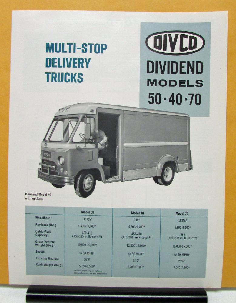1969 DIVCO Truck Model 50 40 70 Multi Stop Sales Brochure