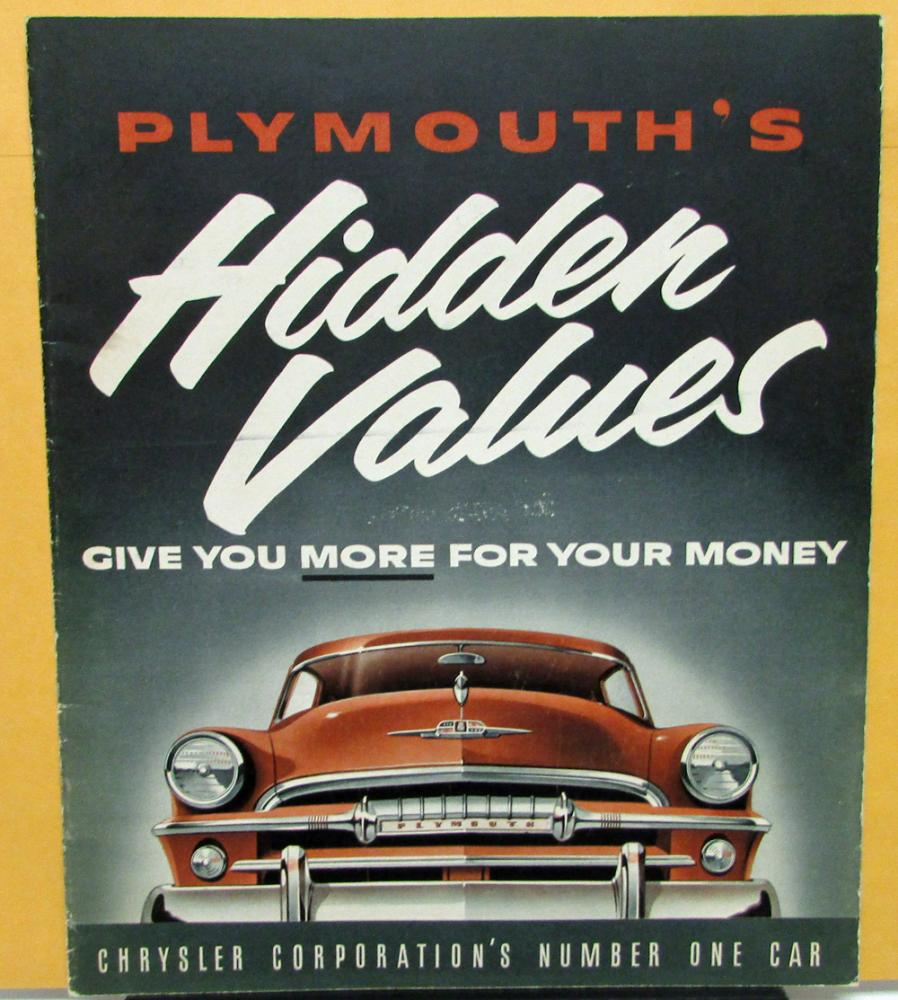 Plymouth Dealer Sales Brochure Hidden Values Full Line Features ...