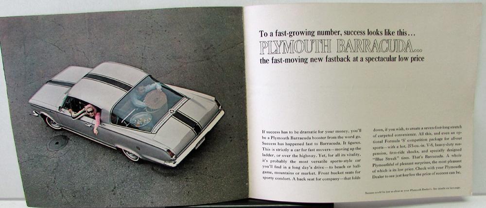 1965 Plymouth Dealer Brochure Indy 500 Pace Car Sport Fury Barracuda