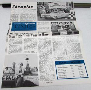 April 1966 Chrysler Plymouth Times Dealer Newspaper Richard Petty Shirley Shahan