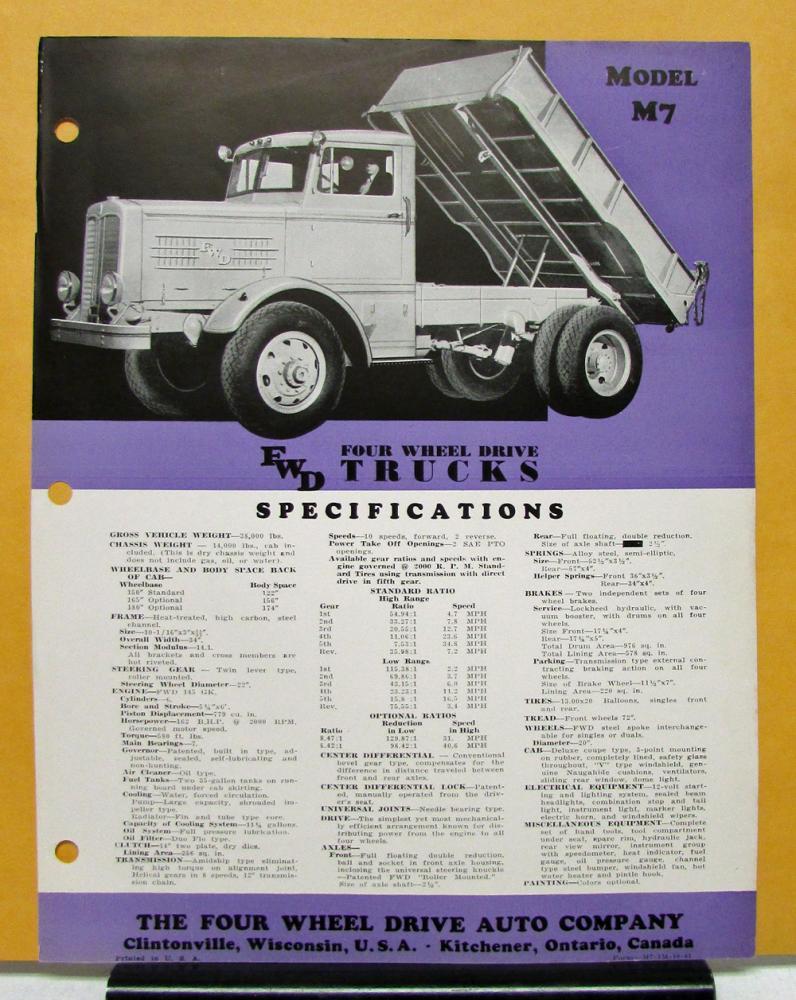 FWD Truck Model M7 Specification Sheet